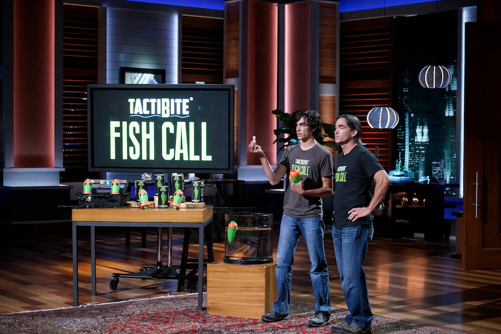 Jack Danos and Jeff Danos with the TactiBite Fish Call on ABC's Shark Tank